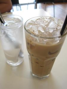 V's Coconut Juice and my Vietnamese Iced Coffee